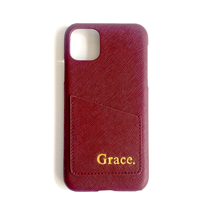 IPHONE 11 PRO MAX BURGUNDY SAFFIANO LEATHER CASE
