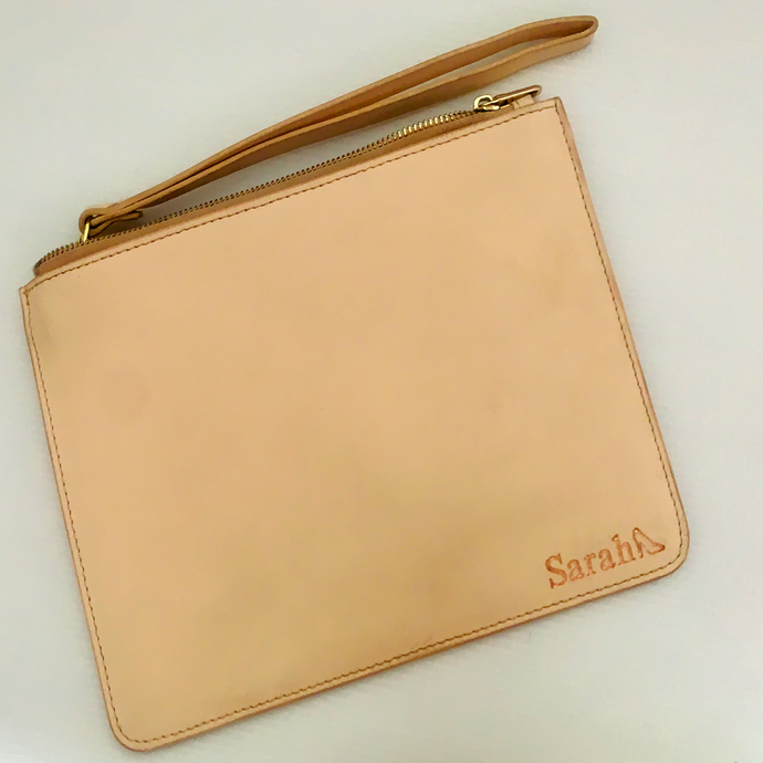 BLUSH SAFFIANO LEATHER CLUTCH