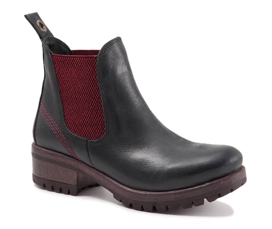Bueno Florida Boots in Black Leather with Bordeaux, Our Beautiful Price $169