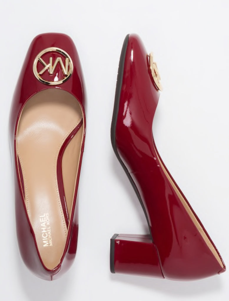 d337ae02483e Michael Kors Dena Flex Mid Pump in Maroon Red Patent Leather  159 ...