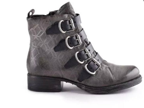 Miz Mooz Noelle Boots in Graphite Dark Grey and Black Leather $299, Our Beautiful Price $249