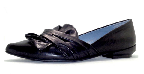 Everybody, Made in Italy,  Flats with Bow in Black Leather, Our Beautiful Price $129