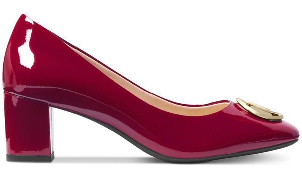 Michael Kors Dena Flex Mid Pump in Maroon Red Patent Leather, Beautiful Price $159