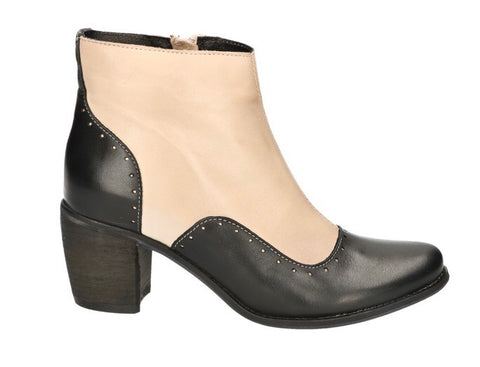 Miz Mooz Durham, Cream White/Black In Soft Leather, Our Beautiful Price $179