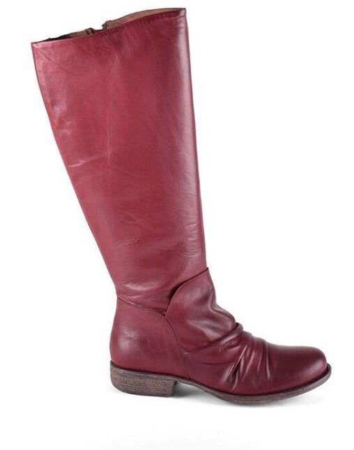 Miz Mooz Lisbon Boots in Bordeaux Red Leather, Our Beautiful Price $269