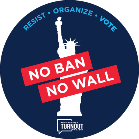 """No Ban No Wall"" Car Magnet"