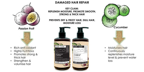 Bare for Bare Damage Repair Hair Conditioner- Cucumber & Passion Fruit