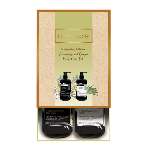 Bare for Bare Invigorating & Detox Lemongrass & Ginger Body Care Set