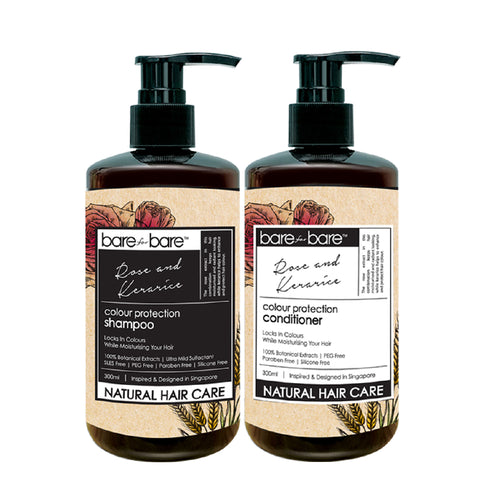 Bare for Bare Natural Hair Care Set- Colour Protection Shampoo & Conditioner (Rose & Kerarice)