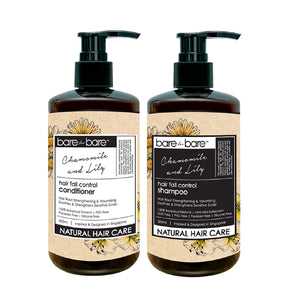 Bare for Bare Natural Hair Care Set– Hair Fall Control Shampoo & Conditioner (Chamomile & Lily) 300ml