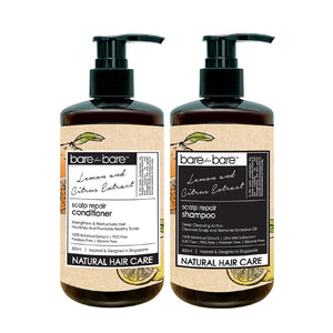 Bare for Bare Natural Hair Care Set – Scalp Repair Shampoo & Conditioner (Lemon & Citrus Extract) 300ml
