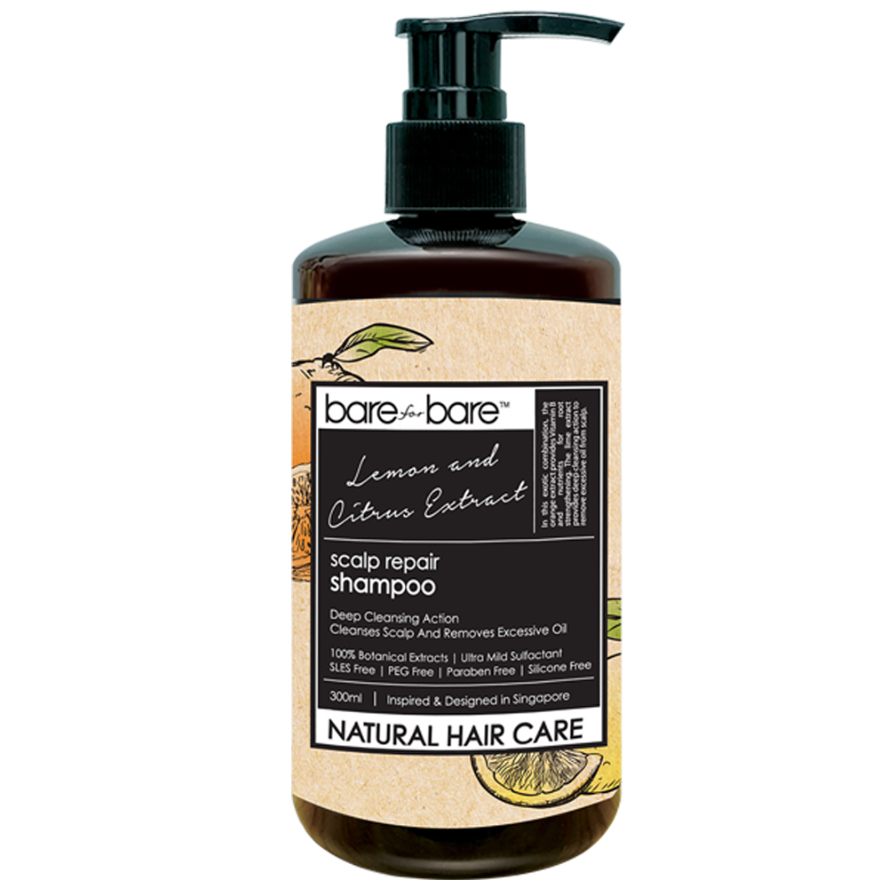 Bare for Bare Natural Scalp Repair Hair Shampoo- Lemon & Citrus