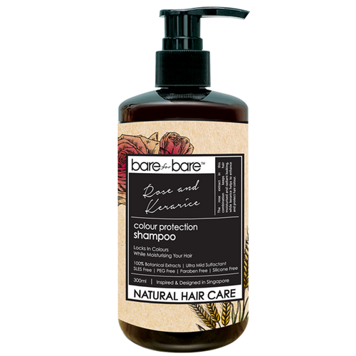 Bare for Bare Natural Colour Protection Hair Shampoo- Rose & Kerarice