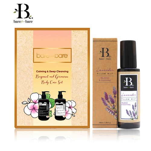Bare for Bare Mother's Day Bergamot & Geranium Body Care & Lavender Pillow Mist Gift Set