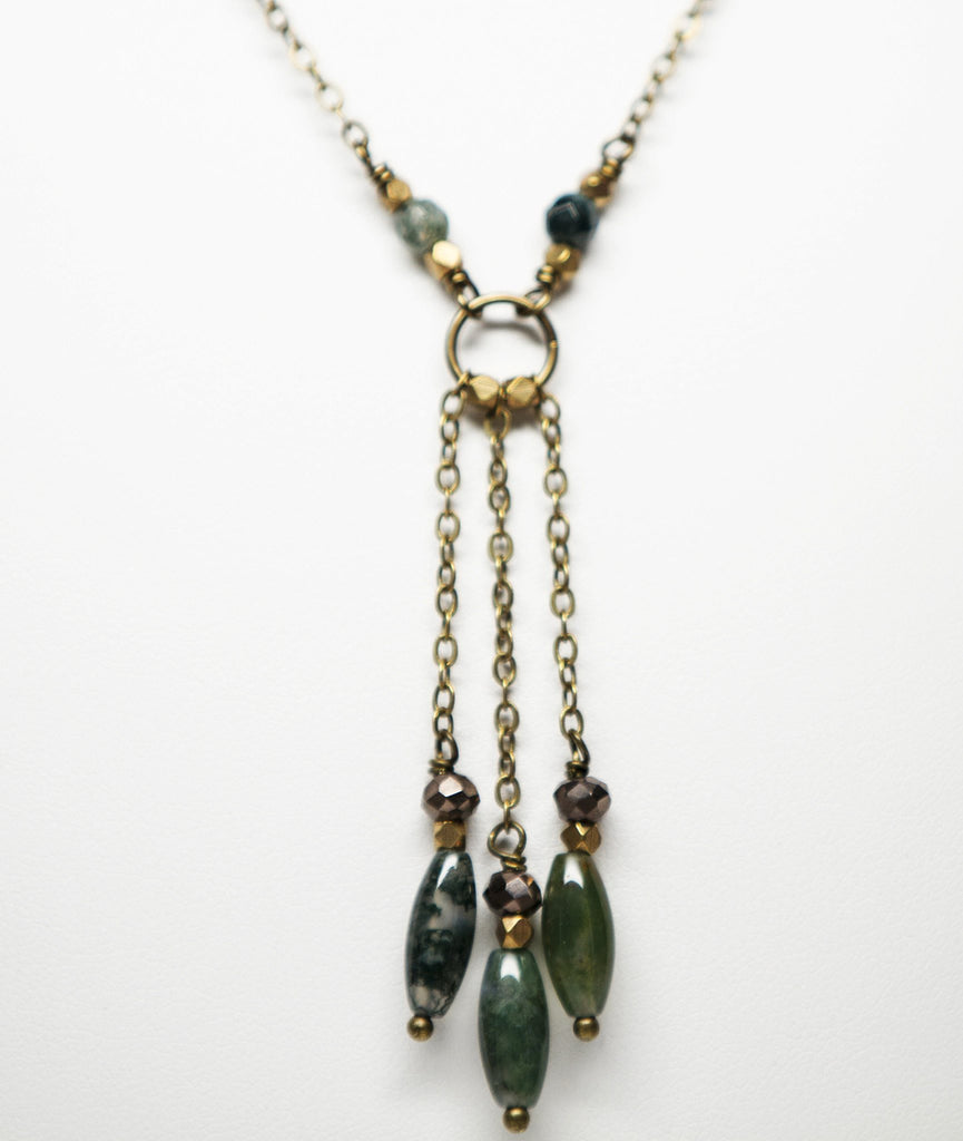 agate pin silver moss green multi necklaces necklace strand