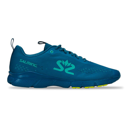 New! Salming Enroute 3 Running Shoe Men Digital teal blue/Bio Lime