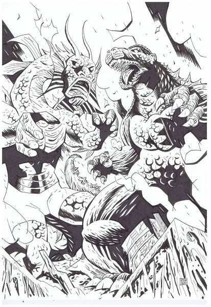 Fin Fang Foom vs. Godzilla Pin-Up + Layout