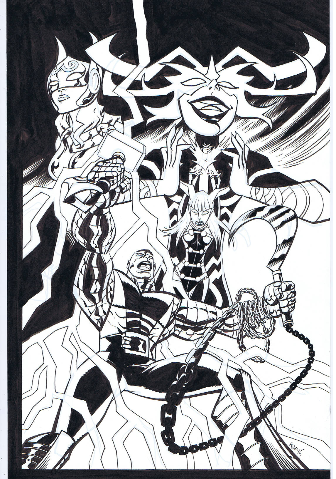 COLOSSUS, HELA, MAGIK & THOR PIN-UP