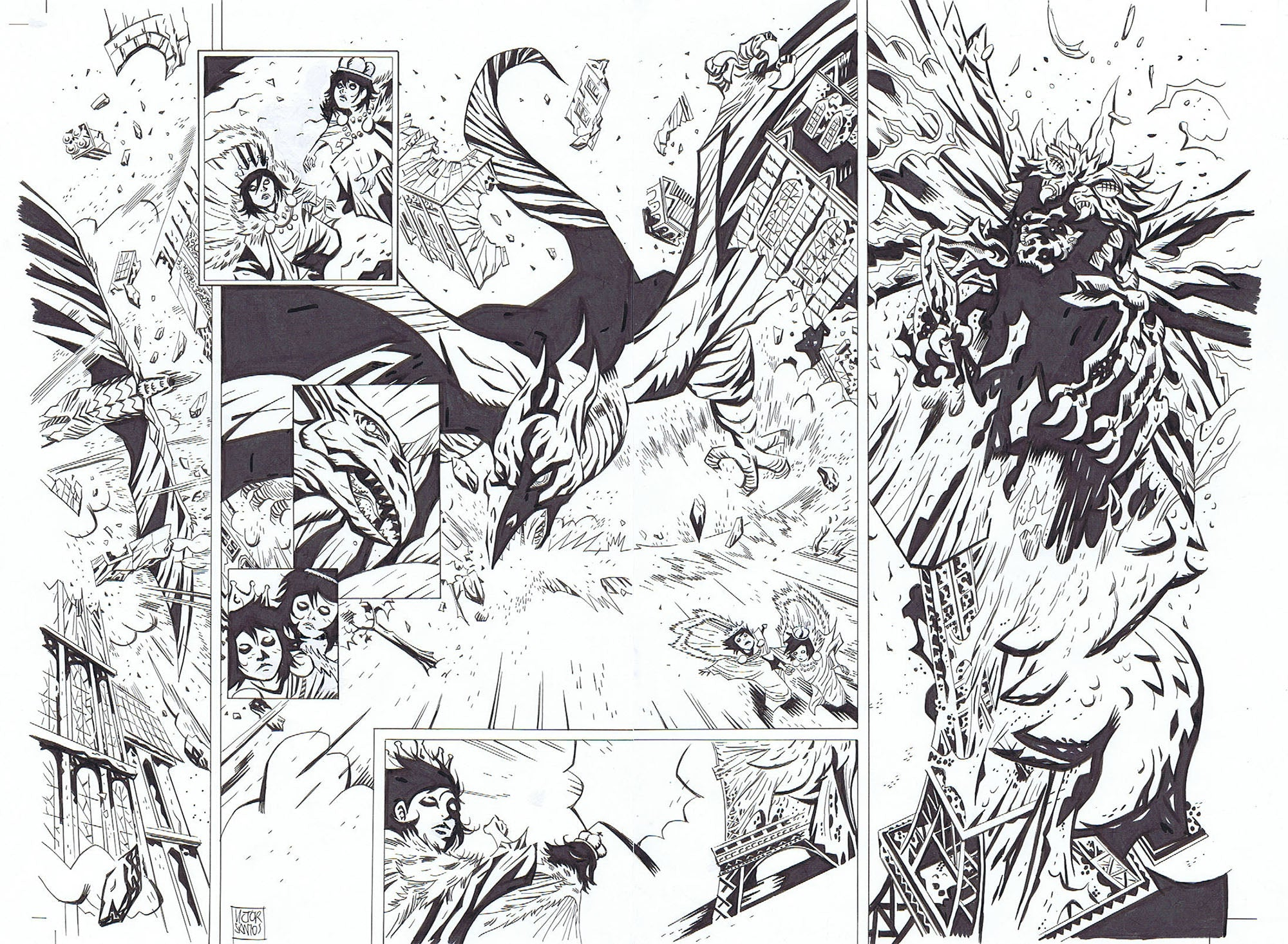 GODZILLA DOUBLE-PAGE INTERIOR + LAYOUT FEATURING RODAN