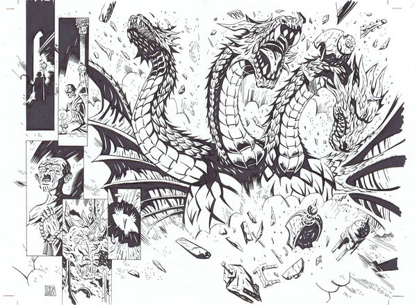 GODZILLA DOUBLE-PAGE ART + LAYOUT FEATURING GHIDORAH