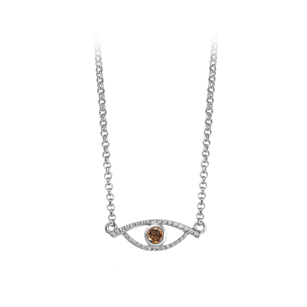 YOUNG BY DILYS' Celestial Eye Fancy Brown Diamond Necklace in 18KWG
