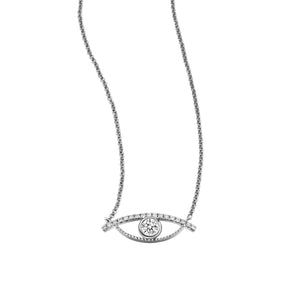 YOUNG BY DILYS' Large Celestial Eye White Diamond Necklace 18KWG