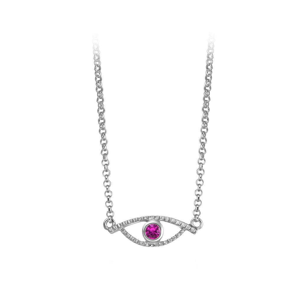 YOUNG BY DILYS' Celestial Eye Pink Sapphire Necklace in 18KWG