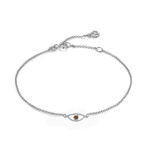 YOUNG BY DILYS' Celestial Eye Fancy Brown Diamond Chain Bracelet in 18KWG