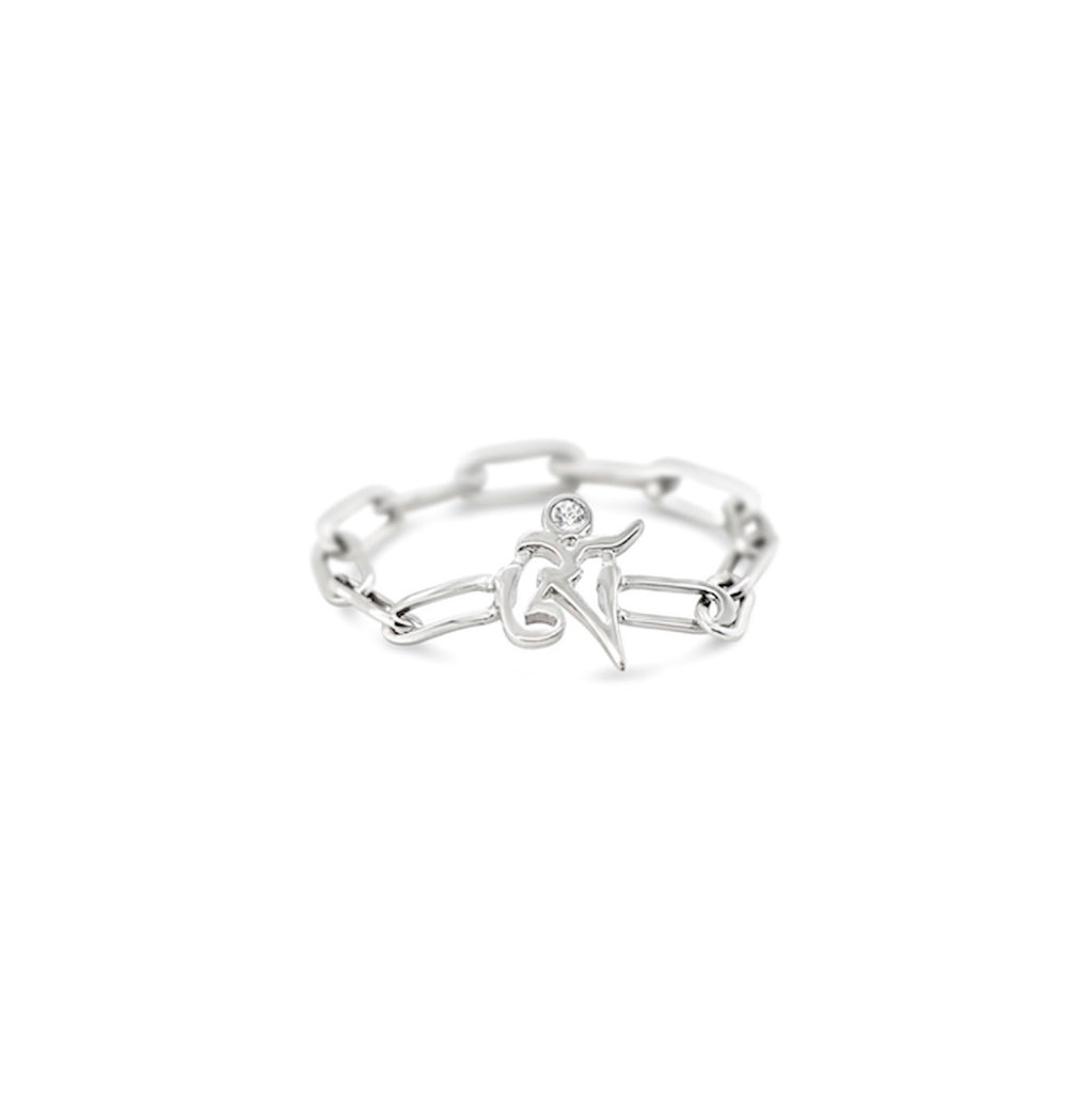 OM Sterling Silver Chain Ring in Rhodium-Plating
