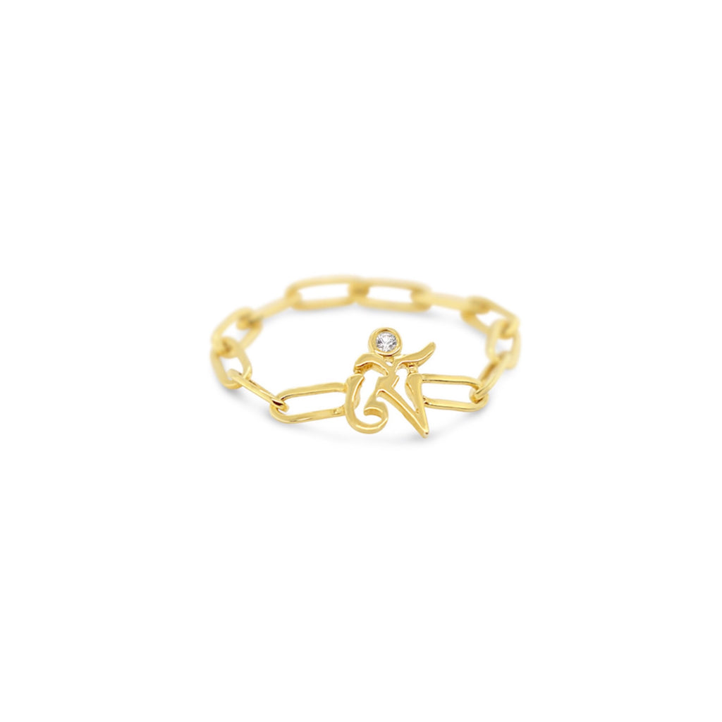 OM Sterling Silver Chain Ring in Gold Vermeil