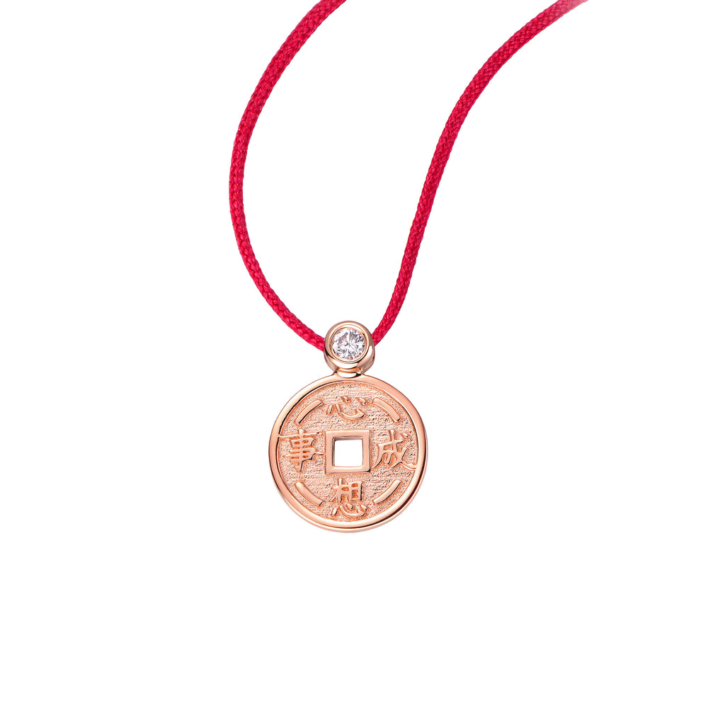 YOUNG BY DILYS' Lucky Coin 心想事成 Thread Necklace in 18K Rose Gold