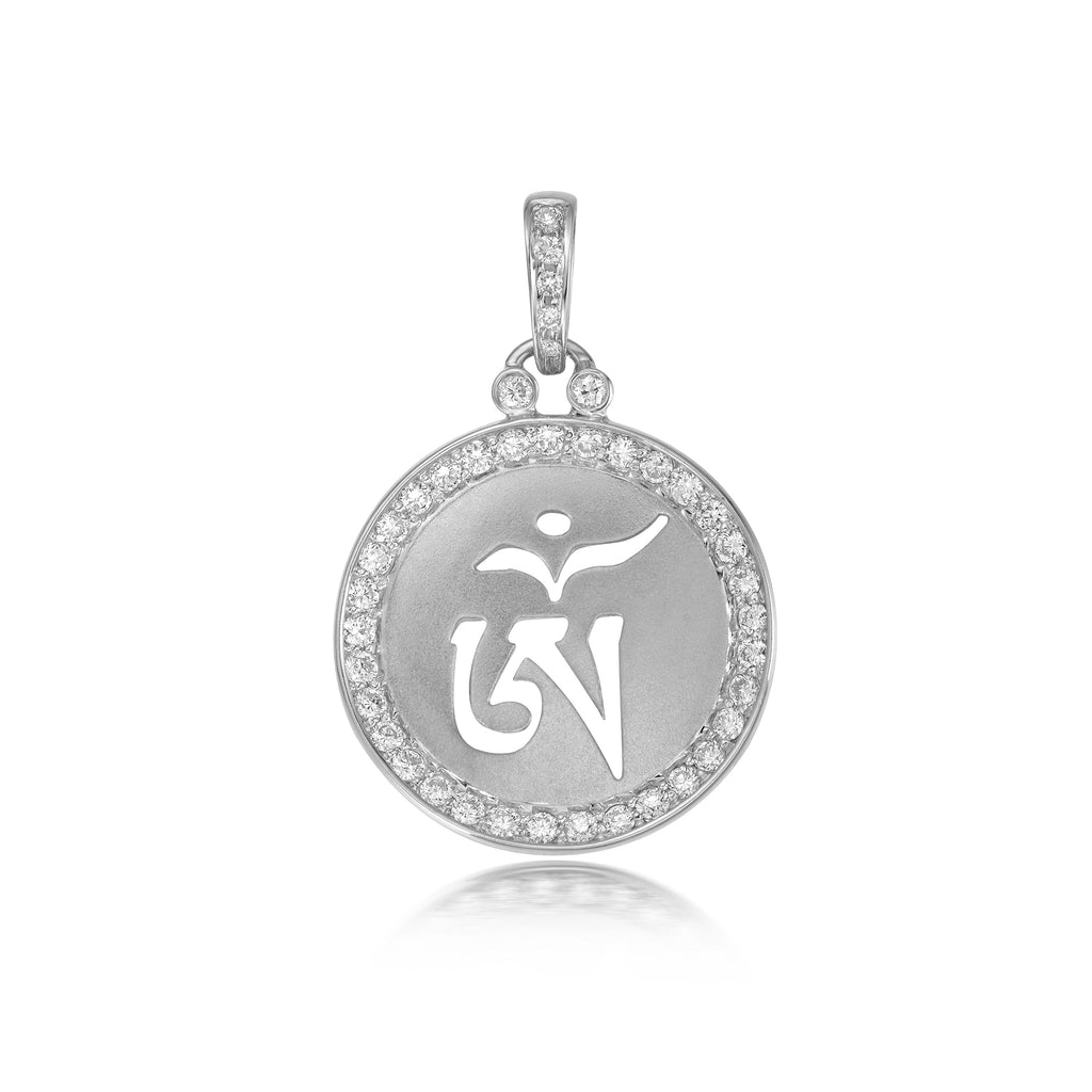 YOUNG BY DILYS' OM Concave Pendant with Diamond Trim in 18K White Gold