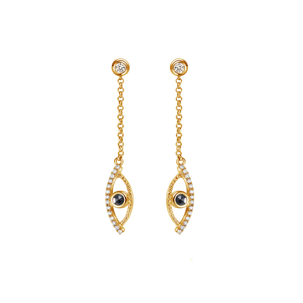 YOUNG BY DILYS' Celestial Eye Black Diamond Earrings with Diamond Trim in 18KYG