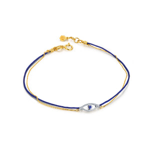 YOUNG BY DILYS' Celestial Eye Chain and Thread Bracelet in Blue Sapphire