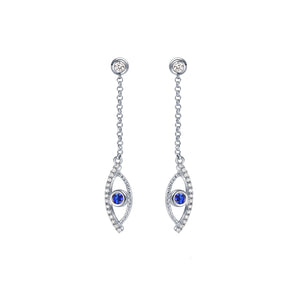 YOUNG BY DILYS' Celestial Eye Blue Sapphire Earrings with Diamond Trim in 18KWG