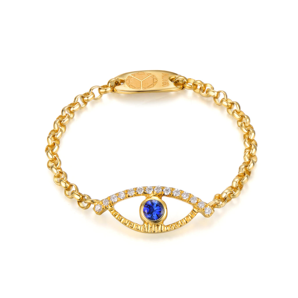 YOUNG BY DILYS' Celestial Eye Blue Sapphire Ring with Diamond Trim in 18K Yellow Gold