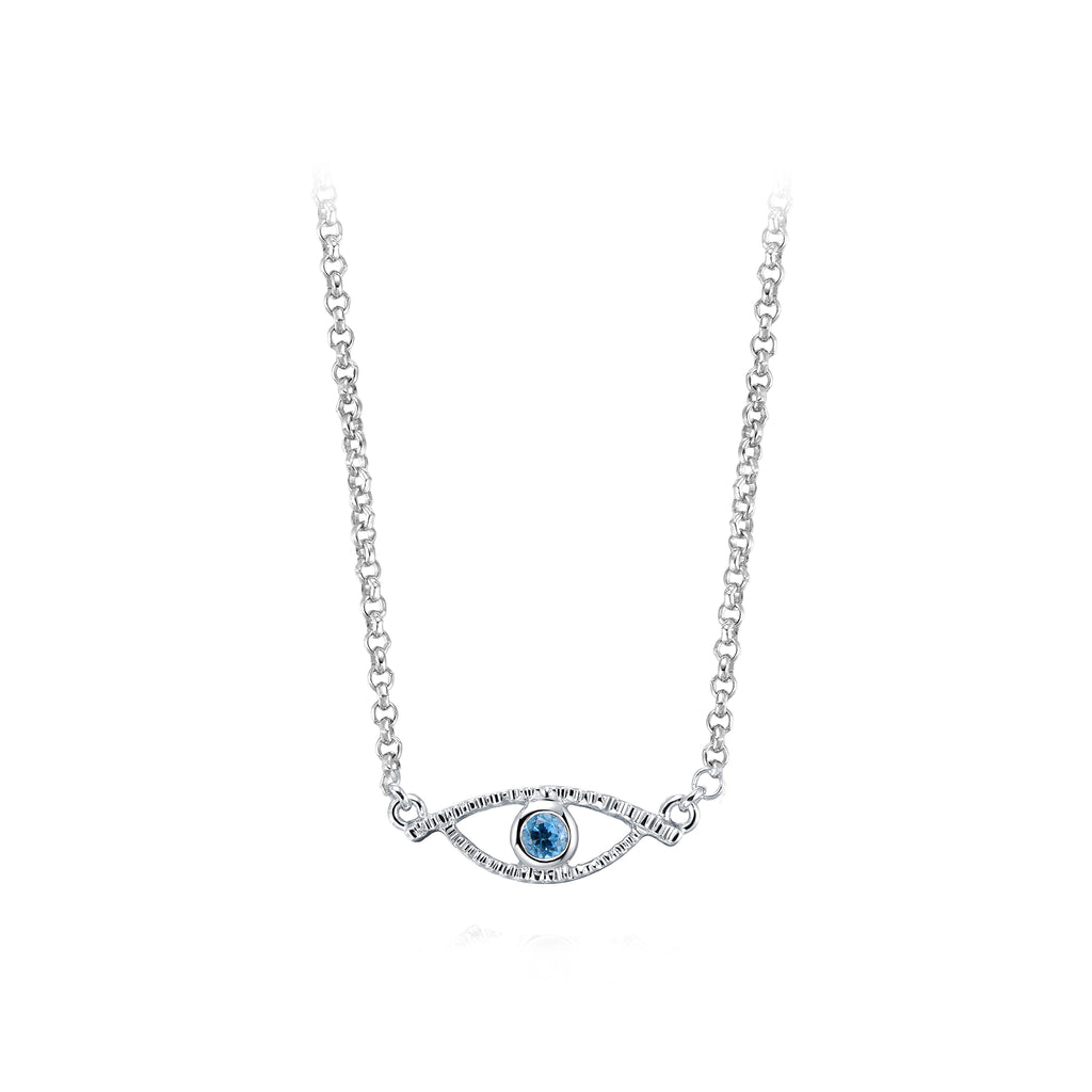 YOUNG BY DILYS' Celestial Eye Blue Topaz Necklace in 925 Sterling Silver