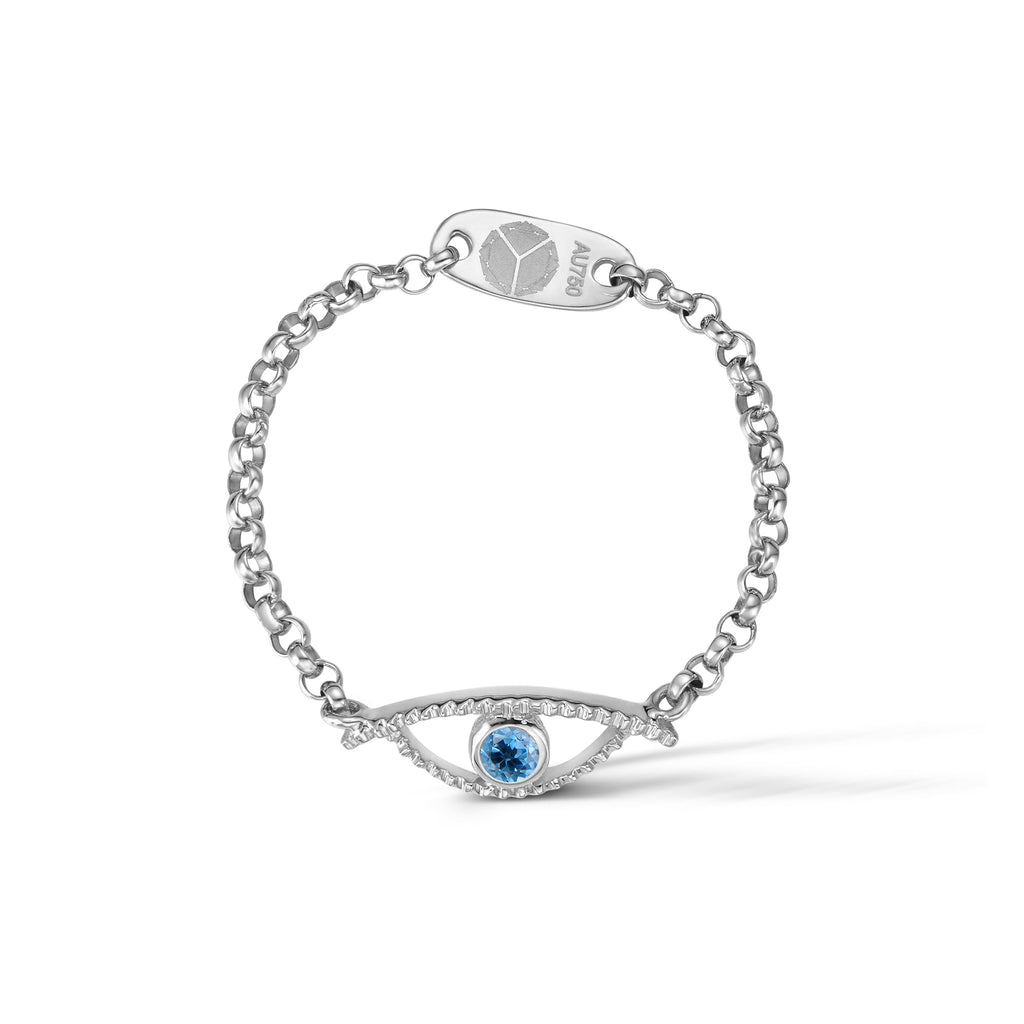 YOUNG BY DILYS' Celestial Eye Blue Topaz Ring in 925 Sterling Silver
