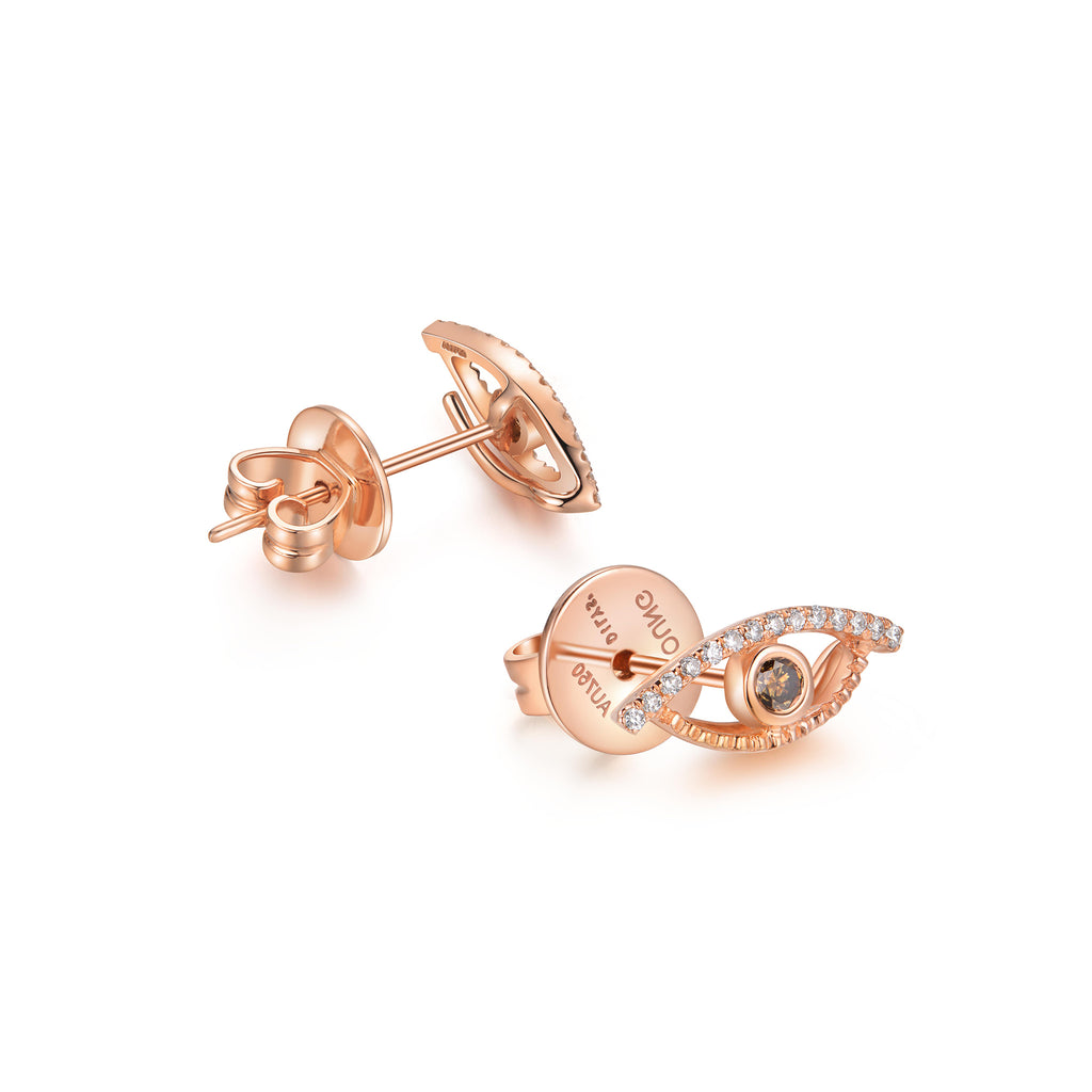 YOUNG BY DILYS' Celestial Eye Brown Diamond Ear Studs with Diamond Trim in 18KRG