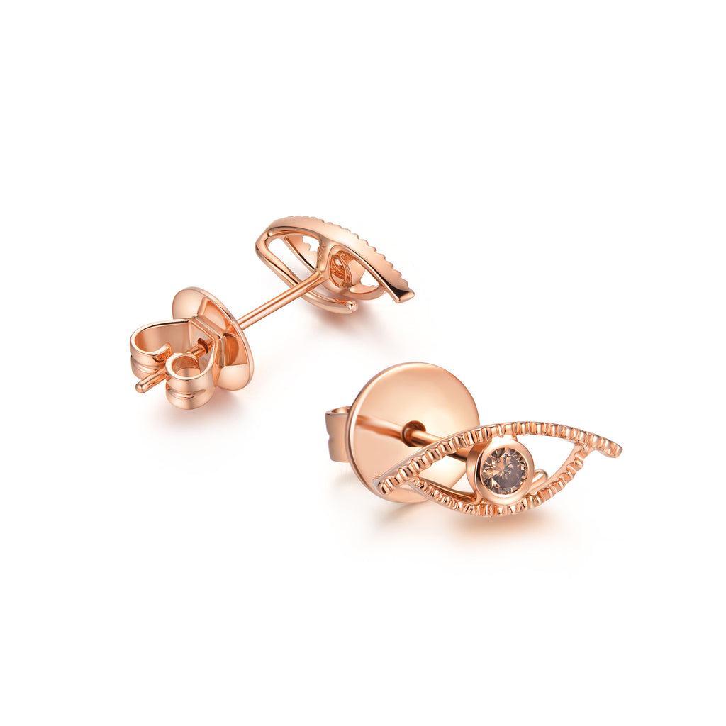 YOUNG BY DILYS' Celestial Eye Fancy Brown Diamond Ear Studs in 18K Rose Gold