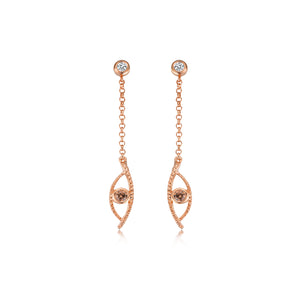 YOUNG BY DILYS' Celestial Eye Fancy Brown Diamond Earrings in 18K Rose Gold