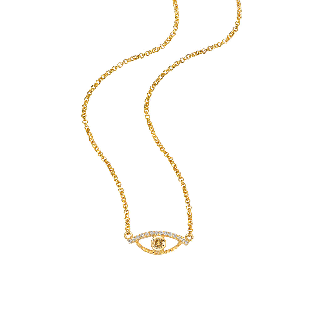 YOUNG BY DILYS' Celestial Eye Fancy Color Diamond Necklace with Diamond Trim in 18K Yellow Gold