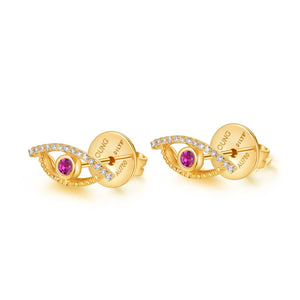 YOUNG BY DILYS' Celestial Eye Pink Sapphire Ear Studs with Diamond Trim in 18KYG