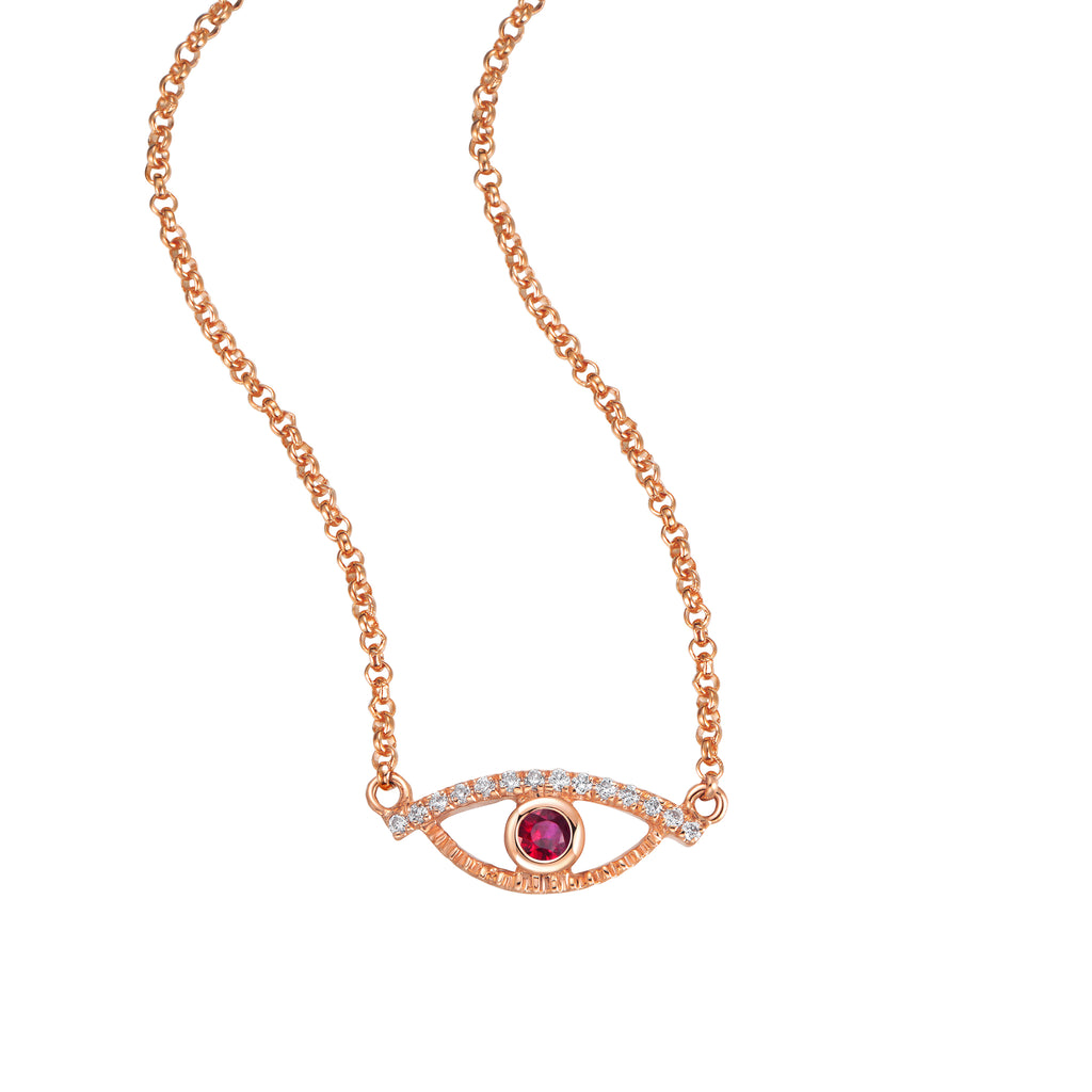 YOUNG BY DILYS' Celestial Eye Ruby Necklace with Diamond Trim in 18K Rose Gold