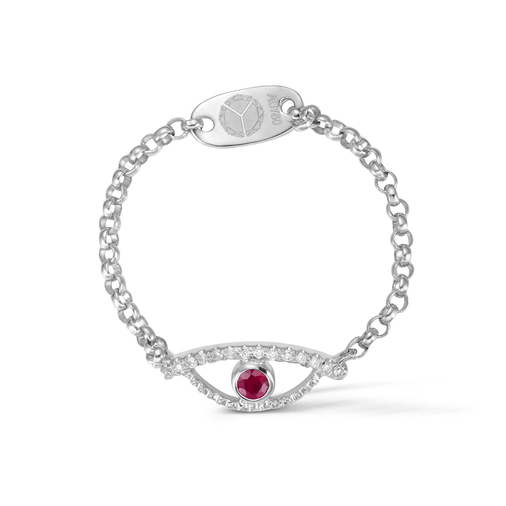 YOUNG BY DILYS' Celestial Eye Ruby Ring with Diamond Trim in 18K White Gold