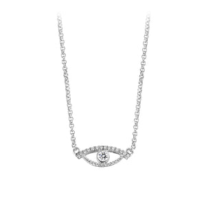 YOUNG BY DILYS' Celestial Eye White Diamond Necklace with Diamond Trim in 18K White Gold