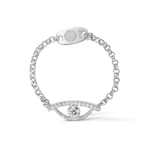 YOUNG BY DILYS' Celestial Eye White Diamond Ring with Diamond Trim in 18K White Gold