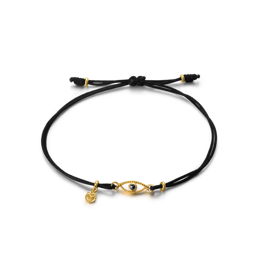 YOUNG BY DILYS' Celestial Eye Thread Bracelet in Black Diamond