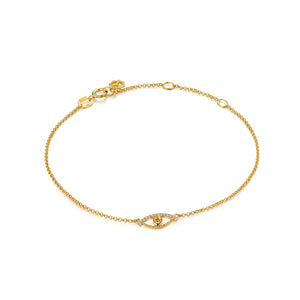 YOUNG BY DILYS' Celestial Eye Fancy Color Diamond Chain Bracelet with Diamond Trim in 18K Yellow Gold
