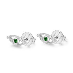 YOUNG BY DILYS' Celestial Eye Green Garnet Ear Studs with Diamond Trim in 18KWG